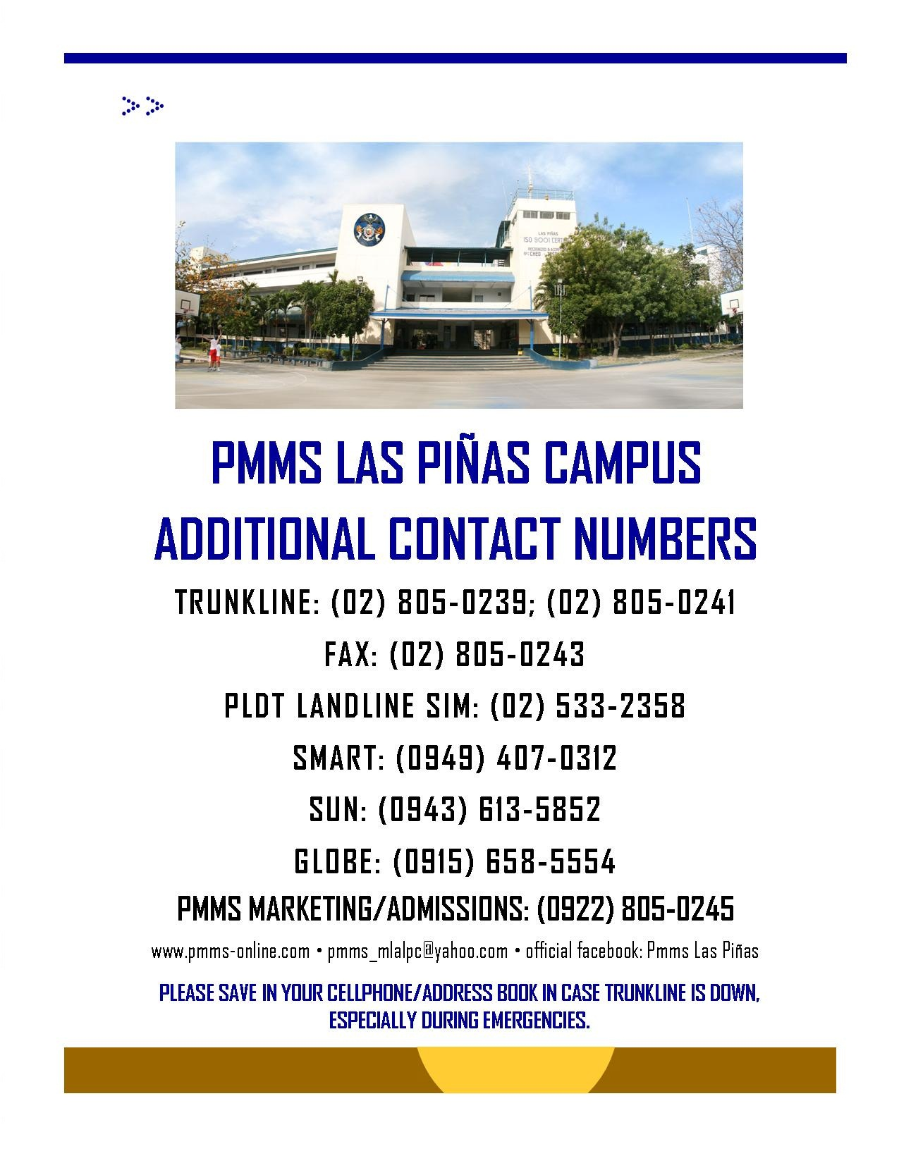 Las Piñas Campus: Additional Contact Numbers