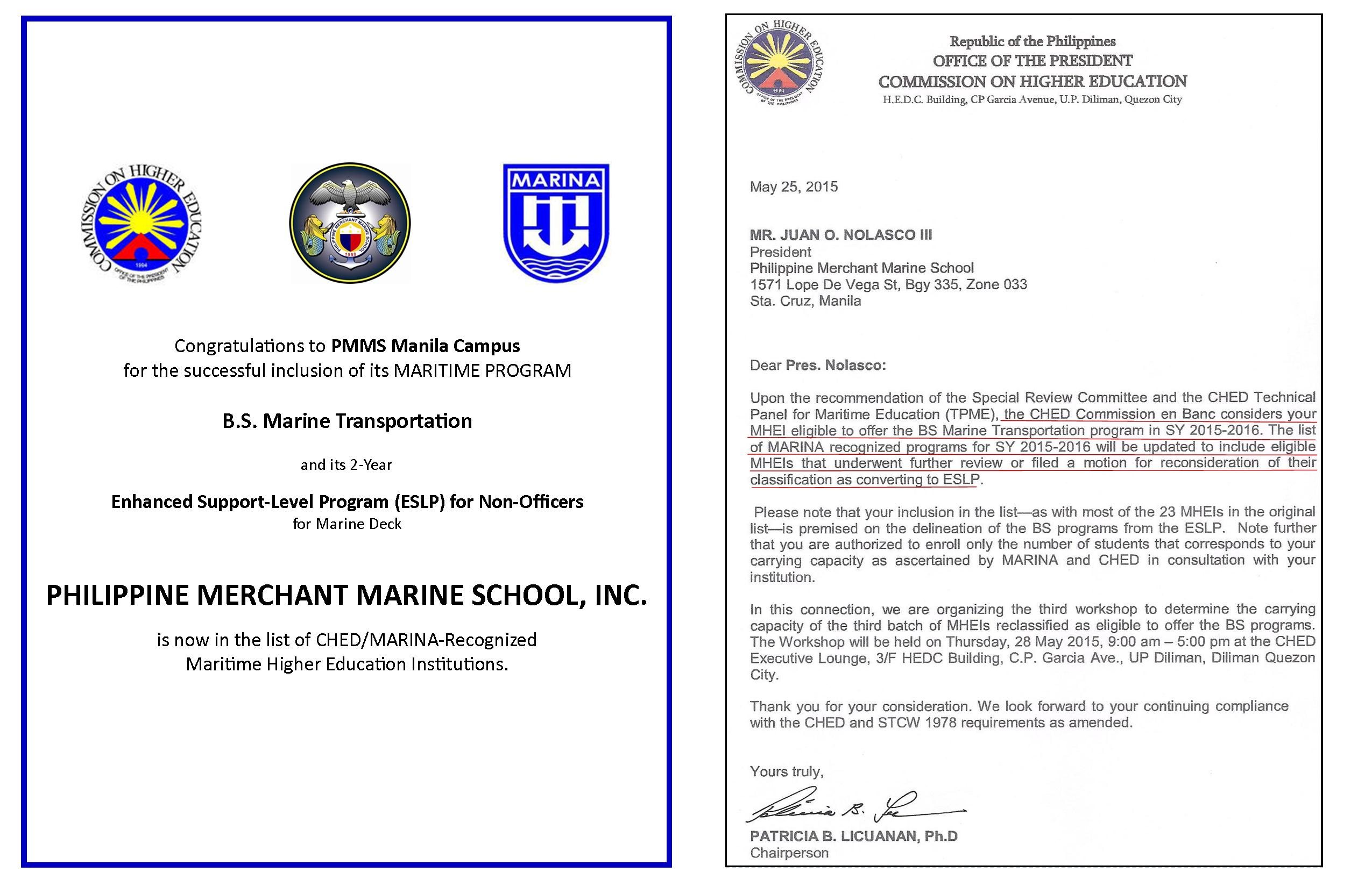 PMMS Maritime Programs are recognized by CHED/MARINA.